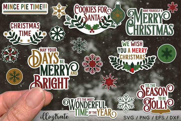 Sticker Bundle - 20 Christmas Stickers with white border
