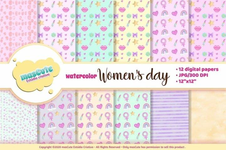 Womens Day Watercolor digital paper