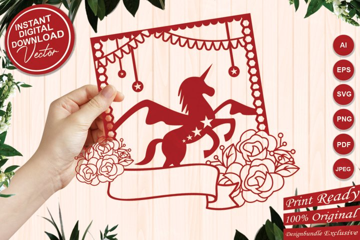 Papercut Unicorn with Stars, Flowers and Ribbon Tag