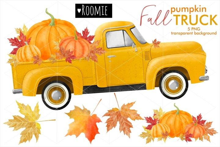 Autumn pumpkin TRUCK PNG, Watercolor fall clipart retro car