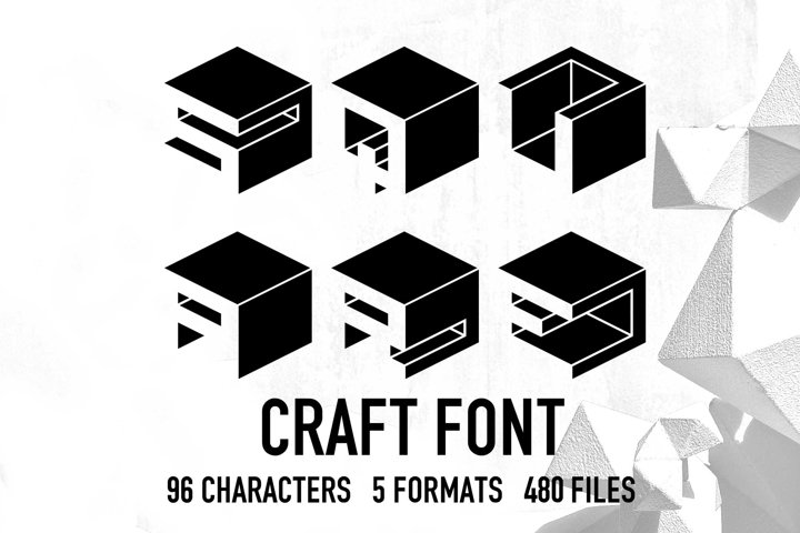 Square Cube Craft Font, Modern 3D Crafting Font, Svg Font