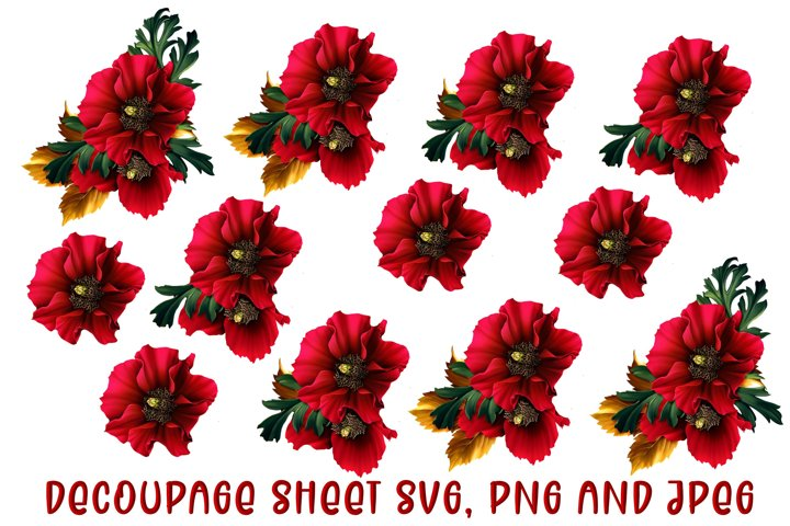 Christmas Flowers Decoupage SVG, PNG and JPEG