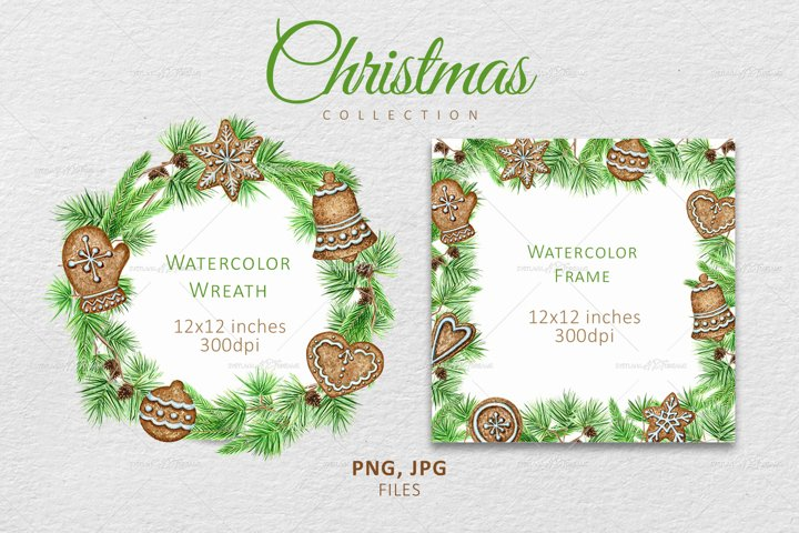 Watercolor Christmas wreath, Winter Greenery frame Clipart