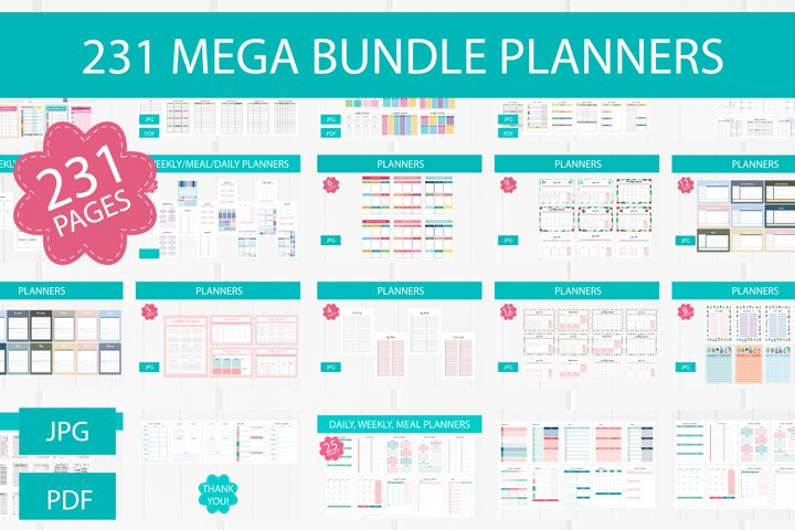 231 Planner pages A4 size, printable digital templates set