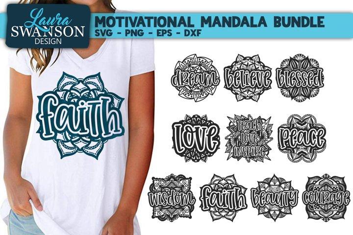 Motivational Mandala Bundle SVG, PNG, EPS, DXF