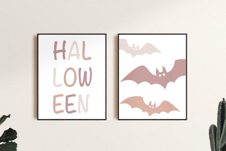 Halloween Prints, Set of 2 Modern Halloween Wall Art Prints