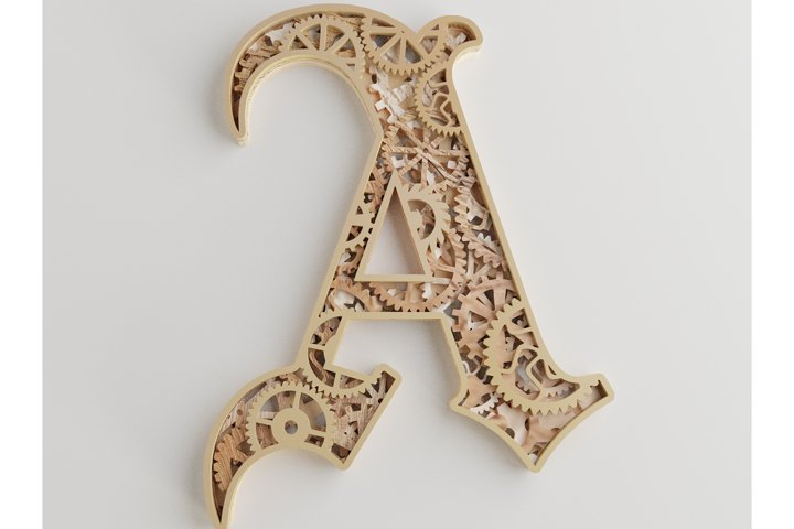 Layered Letter A - 5 layers - SteamPunk Alphabet - laser cut