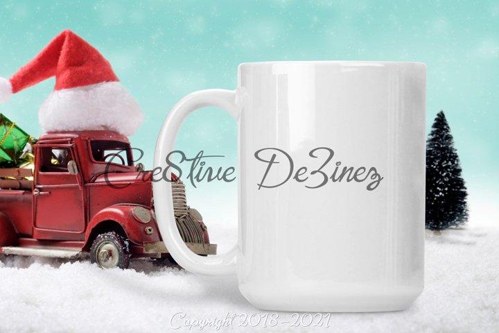 15 oz Coffee Mock Up, Christmas Truck with Mug Realistic