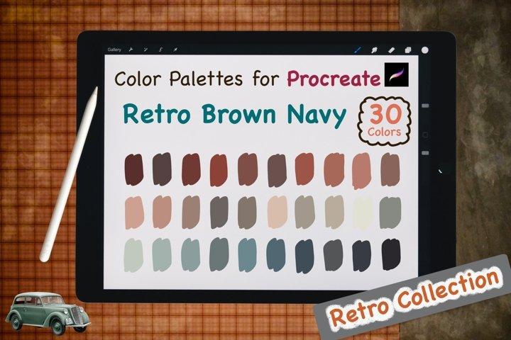 Color Palettes set for Procreate - Retro Brown Navy