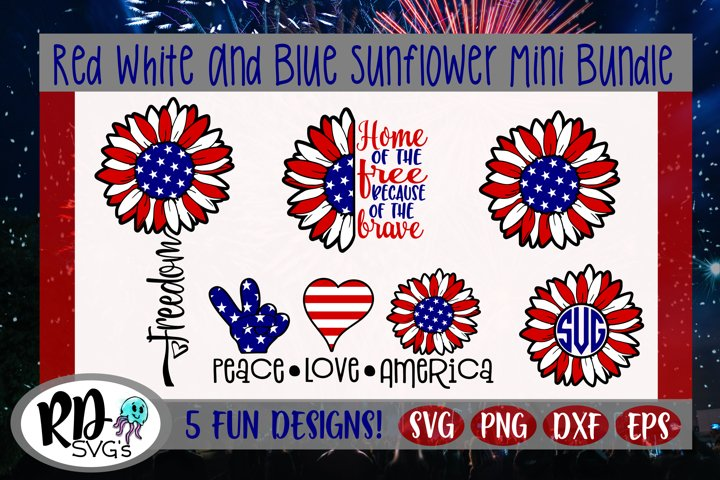 Red White and Blue Sunflower Mini Bundle July 4th Cut Files