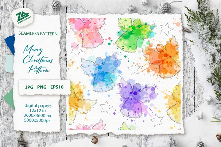 Christmas Seamless Pattern_Digital Watercolor paper JPG, PNG