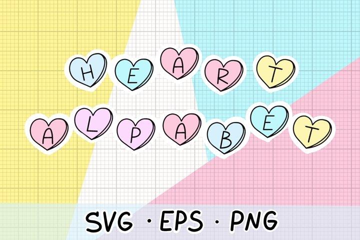 Valentine SVG, heart alphabet, valentines day svg
