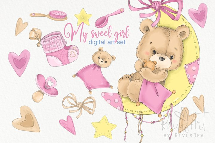 Cute baby girl nursery room graphics set. Teddy bear on moon