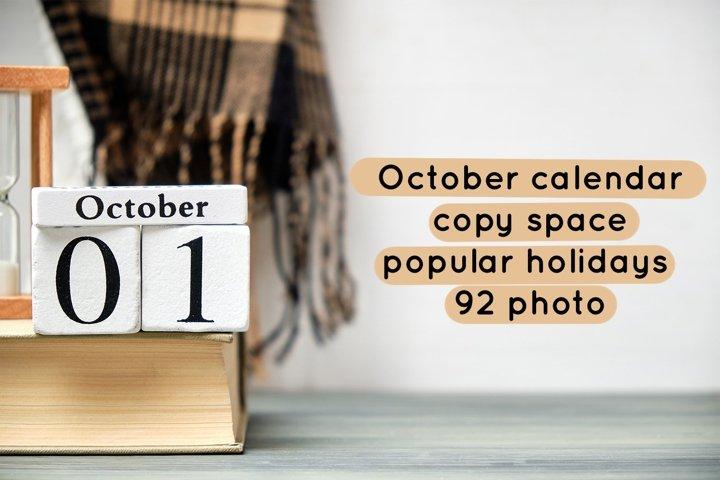 October calendar - copy space - popular holidays - 92 photo