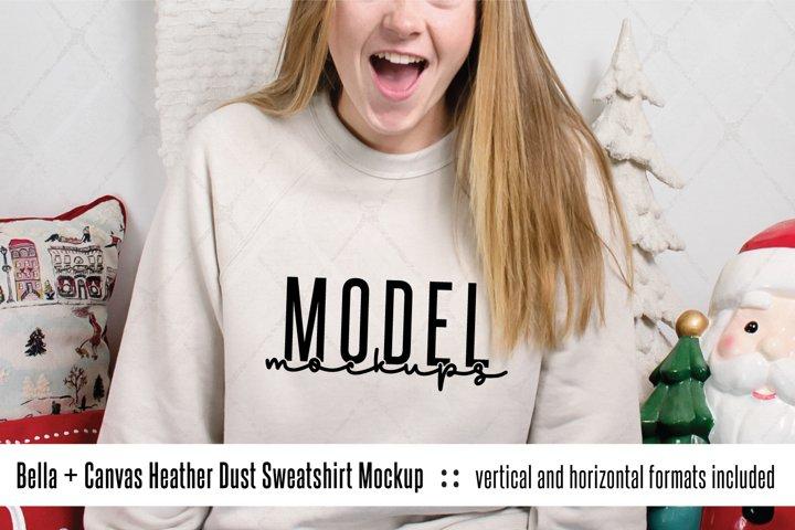 Bella Canvas Heather Dust sweatshirt mockup for Christmas
