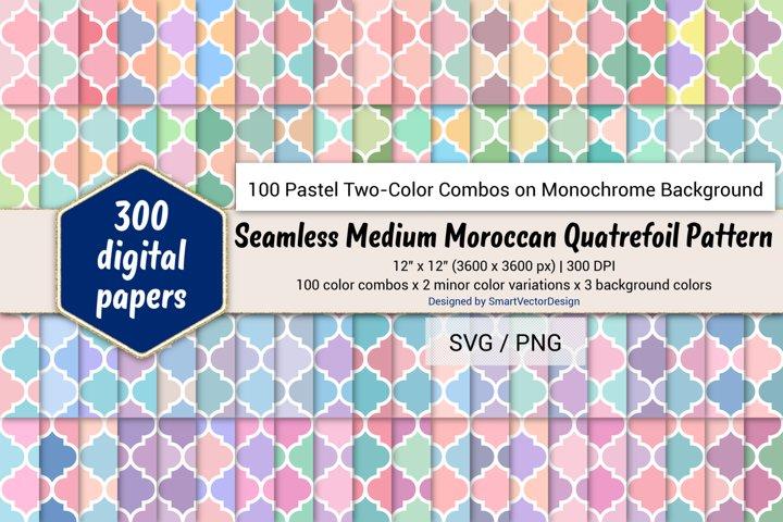 Moroccan Quatrefoil - 100 Pastel Two-Color Combos on BG