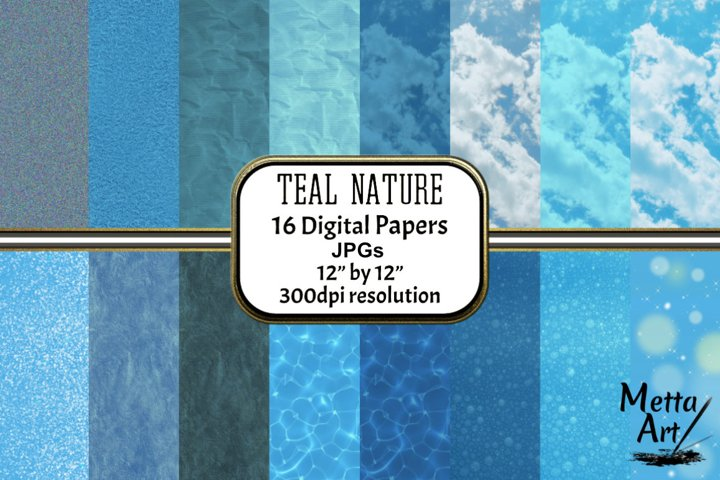 Teal Nature - 16 Digital Papers/Backgrounds
