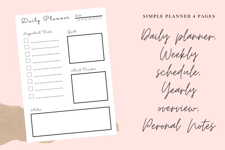 Simple planner daily, weekly, yearly, notes pages