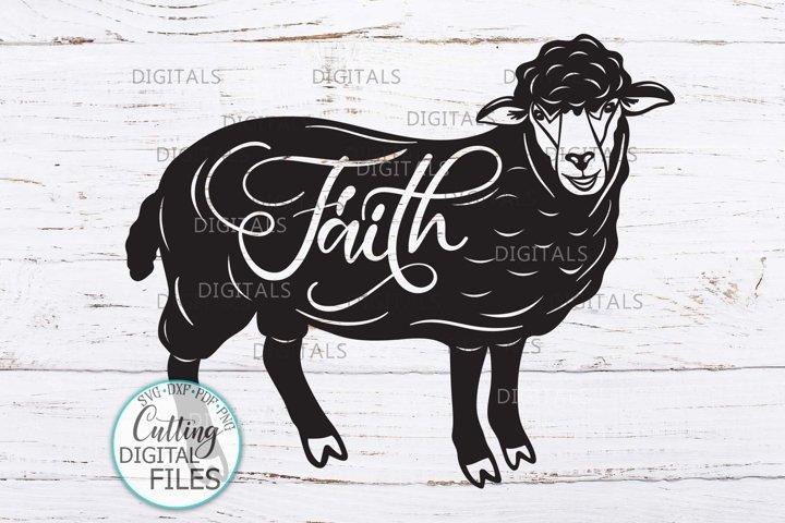 Sheep with Faith word svg dxf cricut cut file farmhouse sign