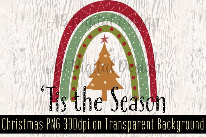 Christmas Sublimation Design PNG, Christmas Rainbow Clipart