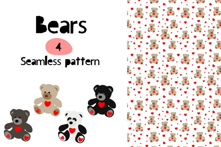 Bears with hearts Seamless Patterns Digital Paper