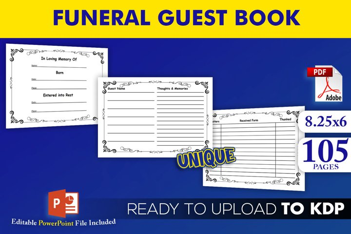 Funeral Guest Book KDP Interior Editable Powerpoint Template