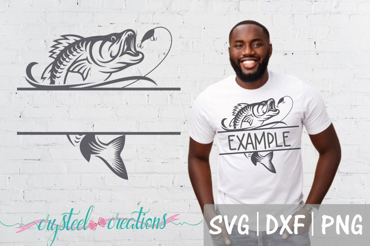 Split Fish SVG, DXF, PNG, Fishing