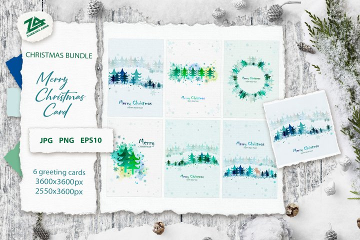 6 Merry Christmas card with Winter landscape JPG, PNG