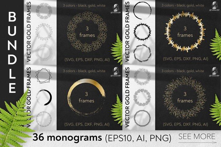 Vector Christmas monograms BIG bundle SVG, Cut Files