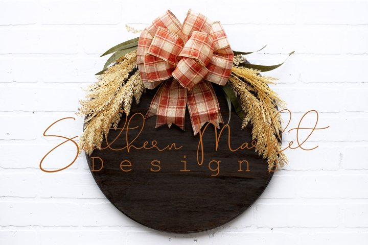 18 inch Wood Round Fall Sign Mock Up Photo Stock Photo