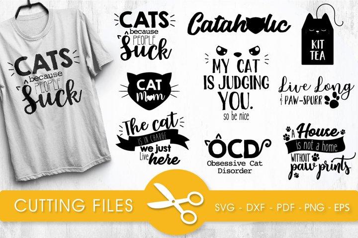 Sarcastic cats bundle cutting files svg, dxf, pdf, eps, png