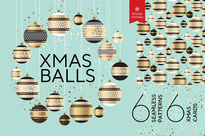 Christmas Baubles - EPS & JPG digital repeat paper and cards