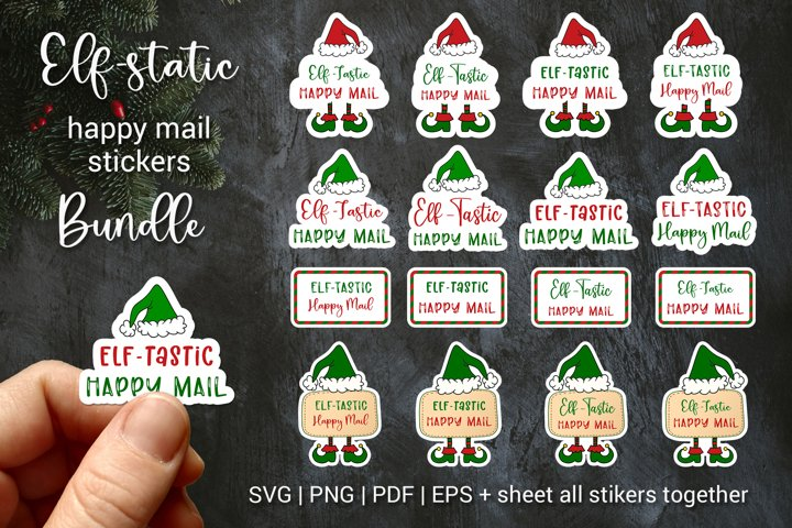 Christmas Elf mail sticker Bundle | Printable Cuttable PNG