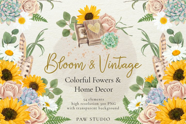 Bloom & Vintage Graphic. Flowers, Leaves, Home Decor