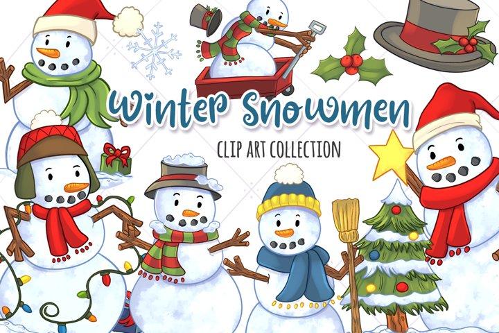Winter Snowmen Clip Art Collection