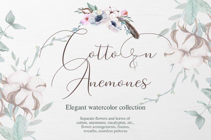 Cotton & Anemones Watercolor Set