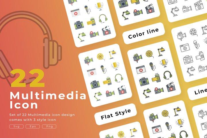 Set of 22 Multimedia icon with 3 stye design