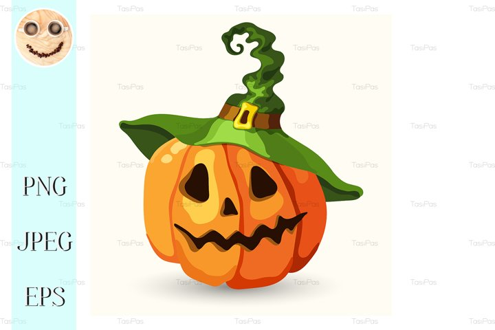 Cartoon Halloween pumpkin wearing witch hat