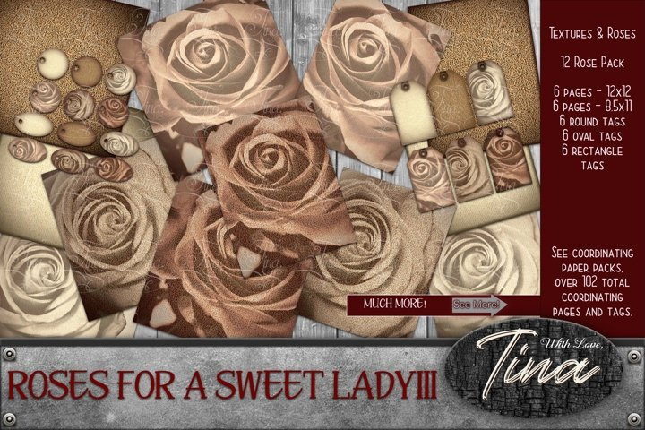 Faded Roses 30pc Romantic Roses Pink Tan Pages Tags