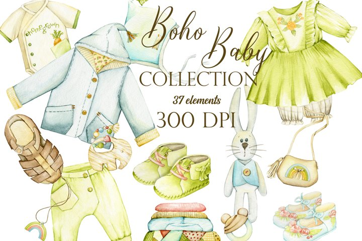 Clipart watercolor Boho Baby, Baby watercolor clipart, Kids