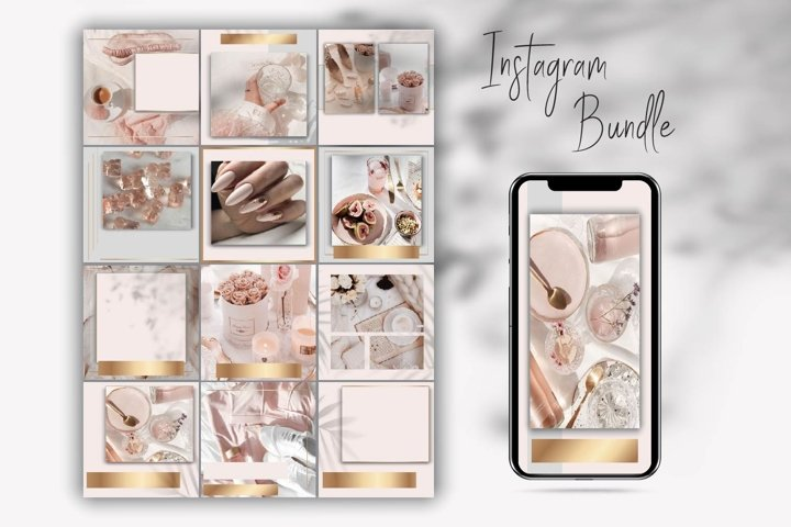 Canva Over Instagram templates.Grey and Pink Instagram