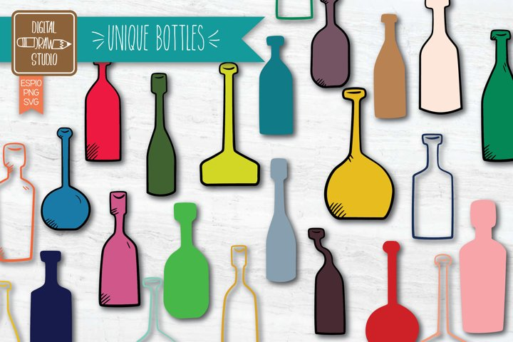 Vintage Bottles Colored icon  Hand Drawn Potion vials Vector