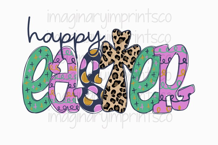 Happy easter leopard cross png sublimation