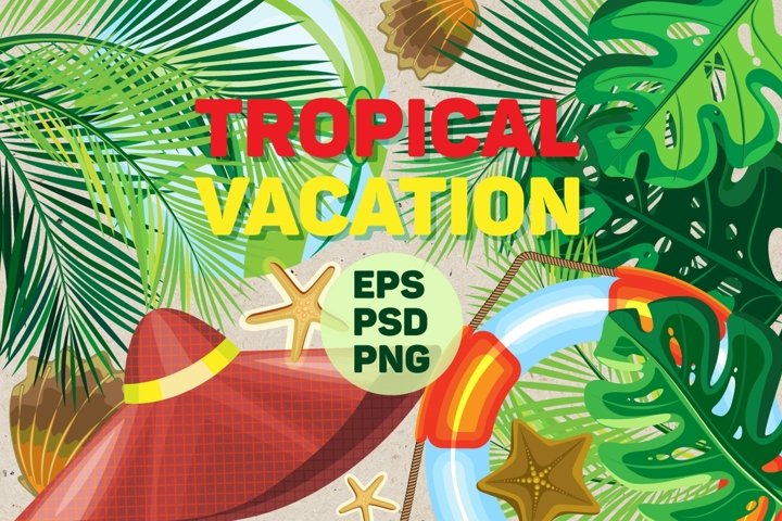 Set of tropical vacation elements