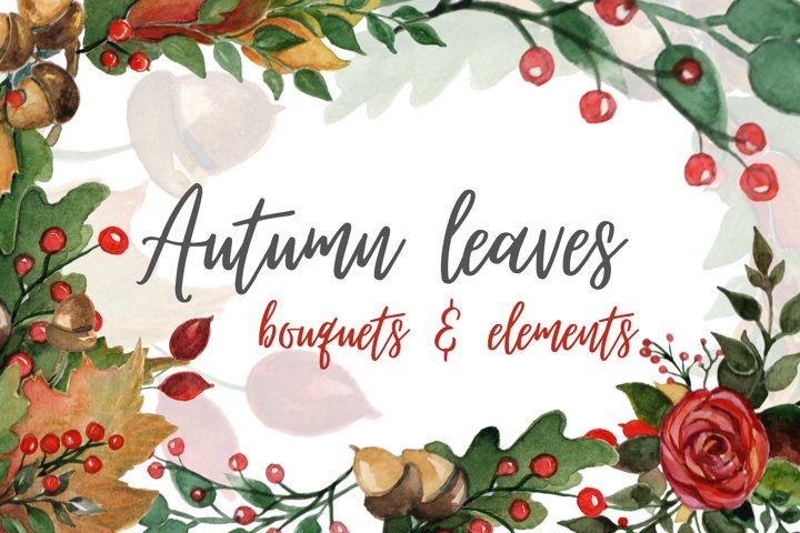 AUTUMN LEAVES WATERCOLOR CLIPART | Fall watercolor PNG