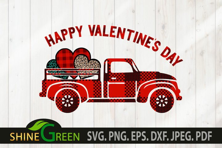 Valentine Truck SVG, Valentines SVG Hearts, Buffalo Plaid