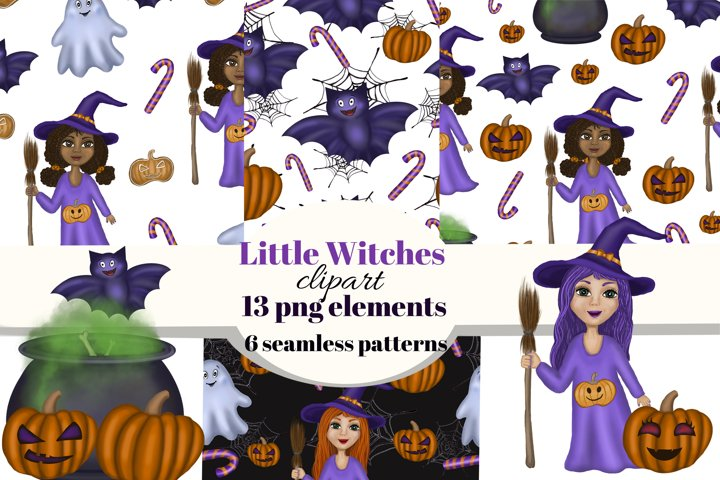 Cute little witches Halloween clipart. Seamless patterns.