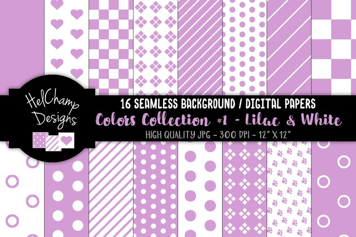 16 seamless Digital Papers - Lilac and White - HC094