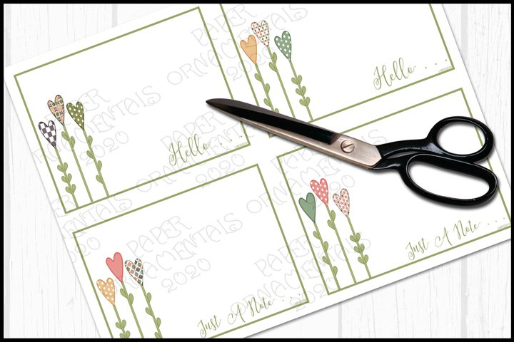 Flat Note Card, Post Card, Trio Heart Flowers #1