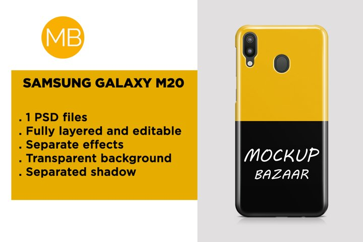 Samsung Galaxy M20 3d Phone Case Mockup Back View